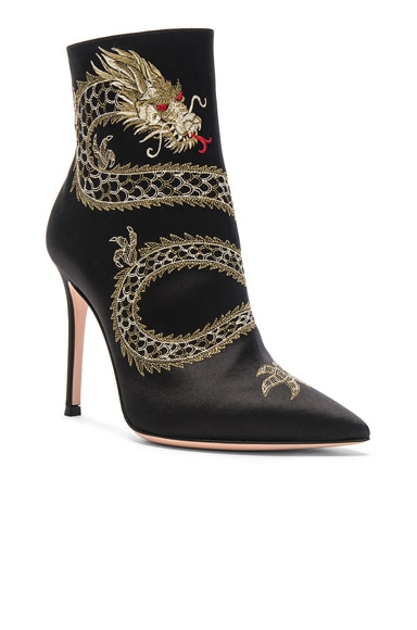 Satin Embroidered Dragon Booties
