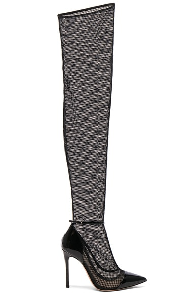 Patent & Mesh Idol Thigh High Boots