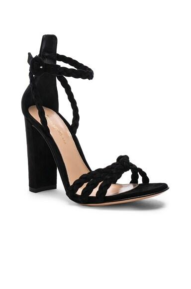 for FWRD Suede Liya Braided Strap Heels