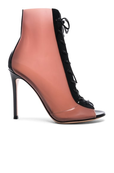Patent & Latex Ree Lace Up Ankle Boots