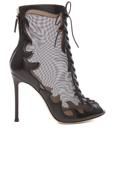 Mesh Lace Up Booties