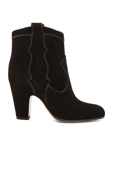 Gianvito Rossi Western Pearl Suede Booties in Nero