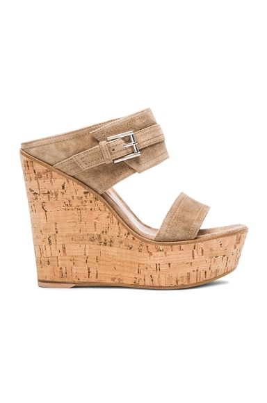 Gianvito Rossi Buckled Wedges in Suede Bisque