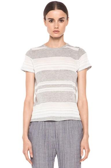 Lace Jacquard Stripe Knit Tee