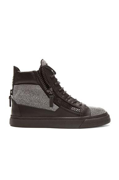 Giuseppe Zanotti London Leather Sneakers in Nero