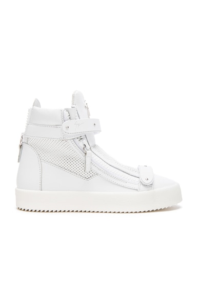 Giuseppe Zanotti Perforated Leather High Top Sneakers in White