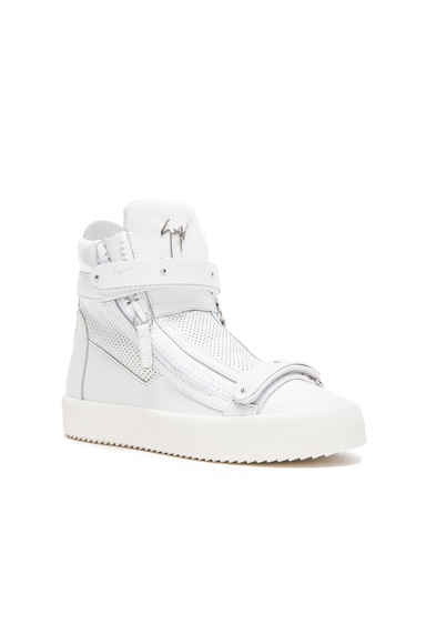 Perforated Leather High Top Sneakers