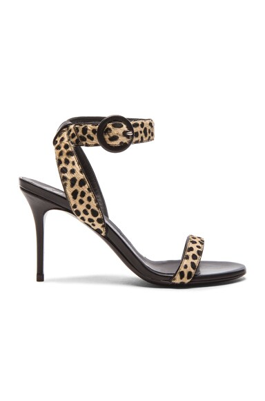 Giuseppe Zanotti Calf Hair Ankle Strap Heels in Leopard