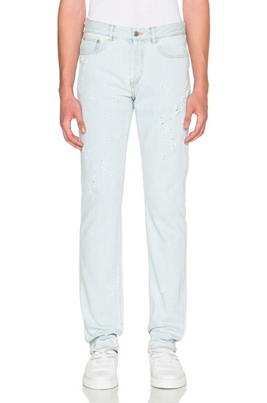 Givenchy Cuban Fit Destroyed Jeans in Light Blue