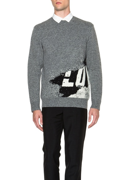 GIVENCHY Love Print Jacquard Sweater in Grey