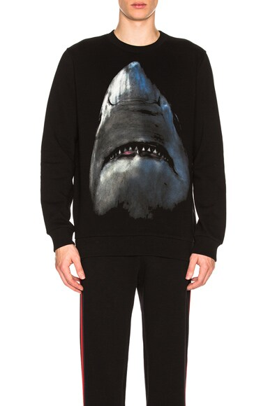 Shark Print Crewneck Sweatshirt