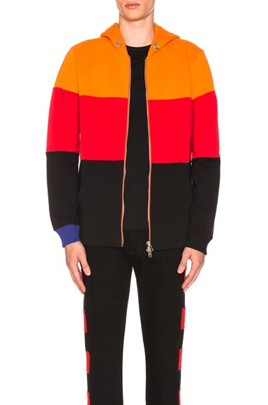 Color Block Zip Up Hoodie