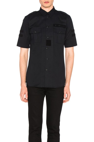 Givenchy Military Velcro Patch Short Sleeve Shirt in Black