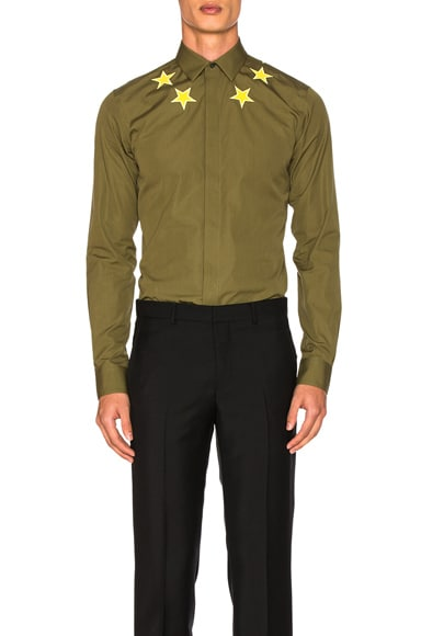 Givenchy Patch Star Shirt in Khaki & Yellow