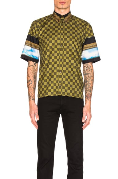 Givenchy Printed Short Sleeve Shirt in Khaki