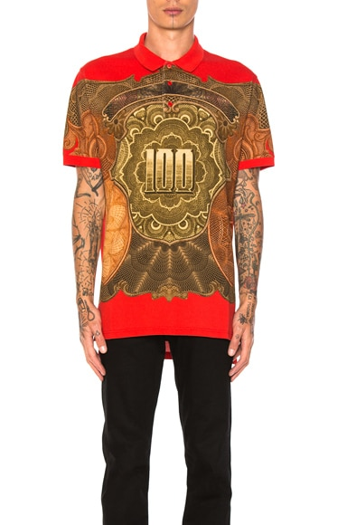 Givenchy Money Print Polo in Red