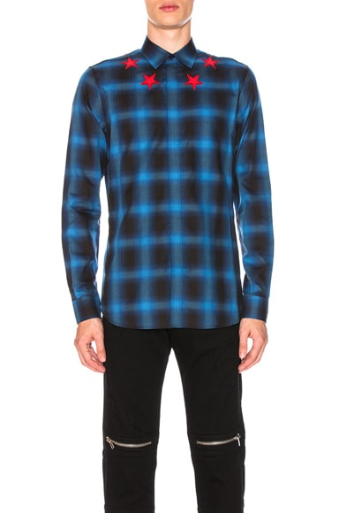 Plaid Shirt with Contrast Stars