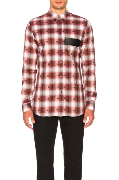 Check Shirt with Leather Logo Band