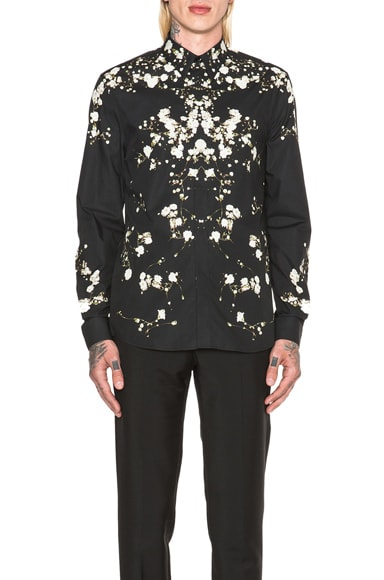 GIVENCHY Baby's Breath Floral Print Shirt in Black