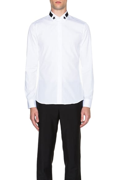GIVENCHY Slim Fit Band & Star Collar Shirt in White