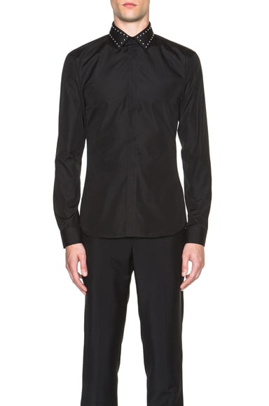 GIVENCHY Slim Fit Shirt with Studded Collar in Black