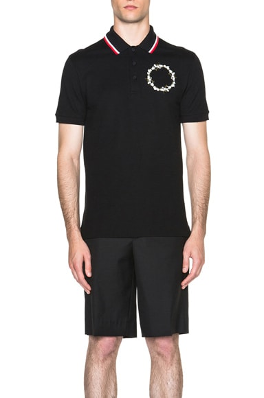GIVENCHY Baby's Breath Embroidered Polo in Black