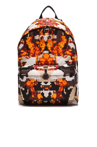 GIVENCHY Flame Pixel Print Nylon Backpack in Multi