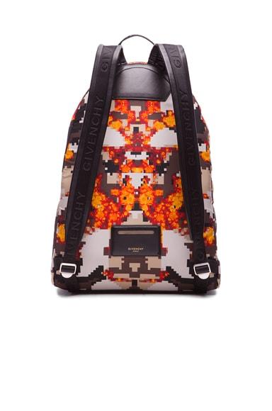 Flame Pixel Print Nylon Backpack