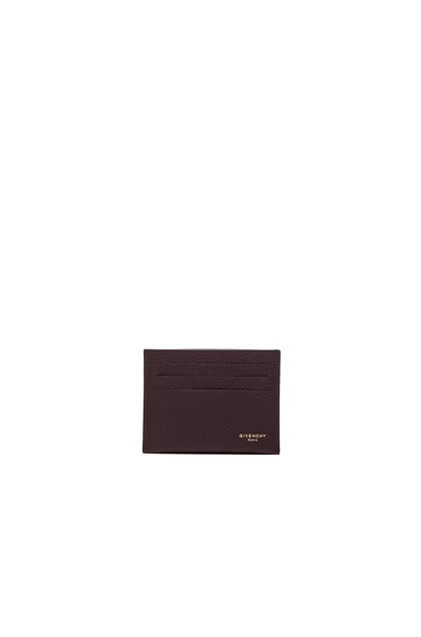 Givenchy Leather Double Cardholder in Burgundy