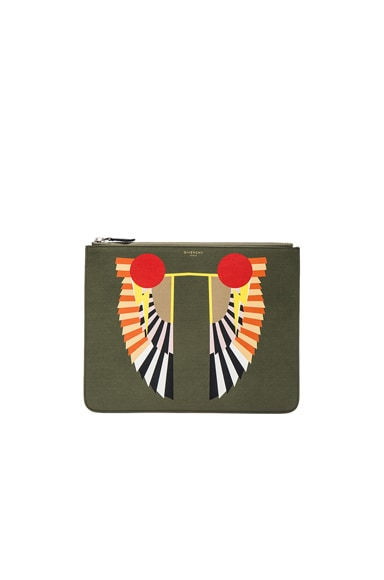 Givenchy Large Zip Pouch in Olive Green