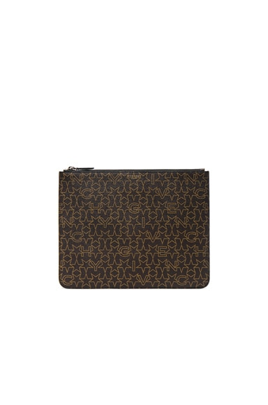 Givenchy Large Zip Pouch in Brown & Beige