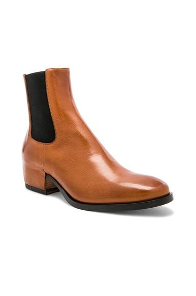 Cuban Heel Leather Chelsea Boots