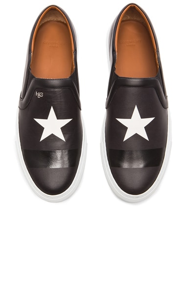 GIVENCHY Skate Star and Stripe Slip On Leather Sneakers in Black