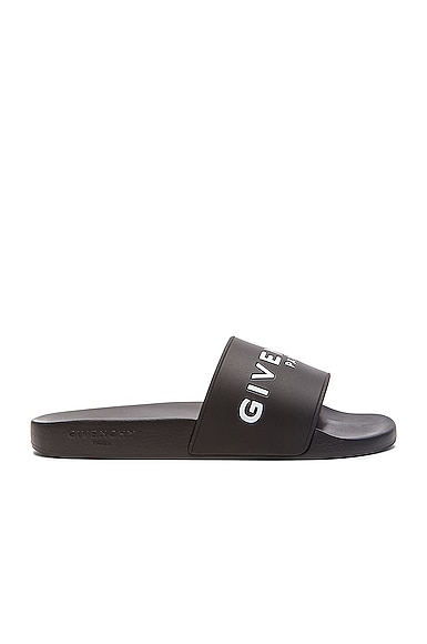 GIVENCHY Polyurethane Slide Sandals in Black