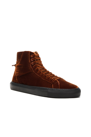 Givenchy Knots Urban High Velvet Sneakers in Hazel