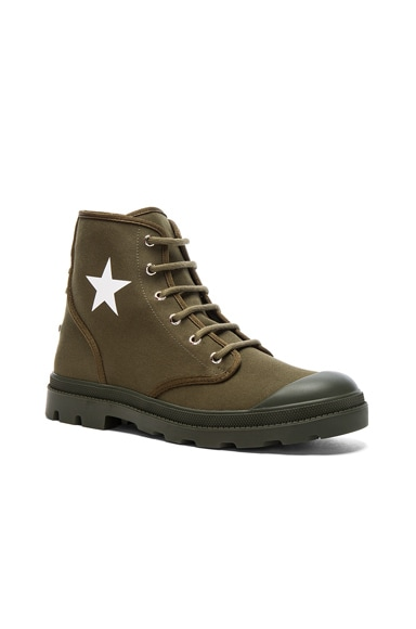 Givenchy Canvas Star Sneaker Boots in Khaki