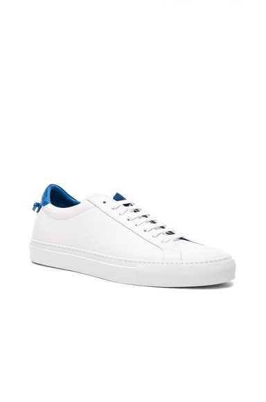 Givenchy Leather Urban Low Top Sneakers in White & Blue