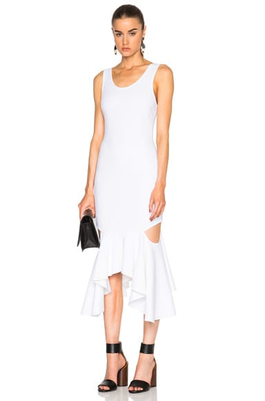 Givenchy Asymmetrical Dress with Slashes in White