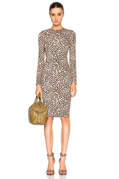 Long Sleeve Leopard Print Jersey Dress