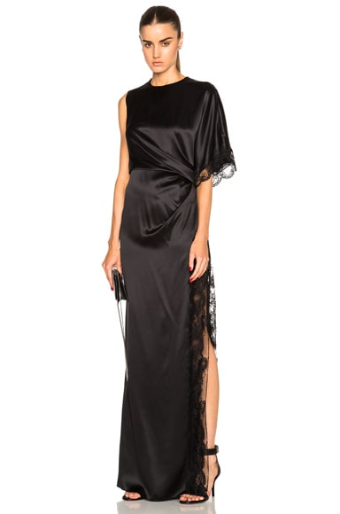 Givenchy Silk Satin and Lace Dress in Black