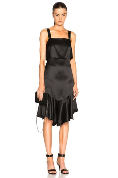 Givenchy Silk Satin Button Back Dress in Black