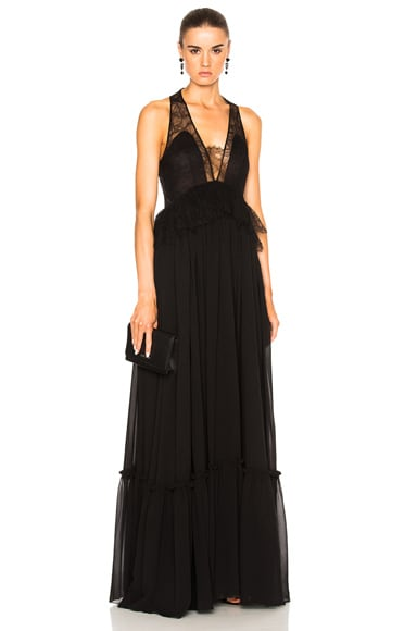 Givenchy Pleated Silk Gown in Black