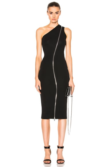 Givenchy One Shoulder Zip Detail Maxi Dress in Black