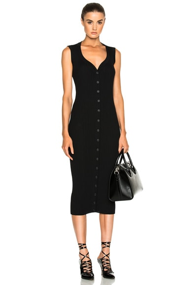 Givenchy Button Front Ribbed Knit Dress in Black