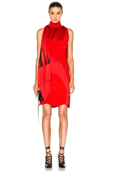 Givenchy Fringe Detail Mini Dress in Red