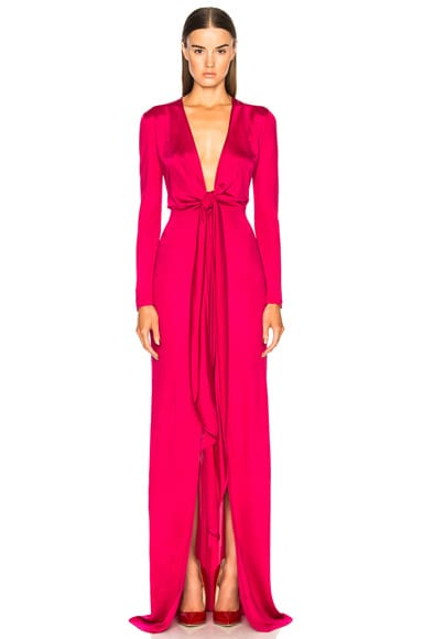 Shiny Viscose Jersey Tie Knot Gown