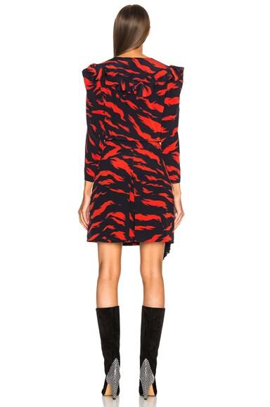 Printed Ruffle Trim Mini Dress