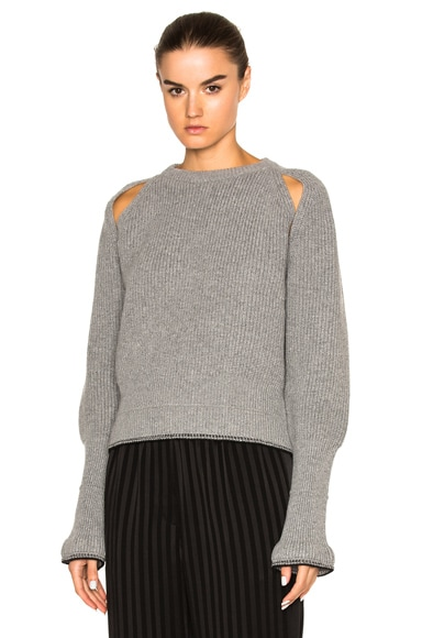 Givenchy Cropped Shoulder Cut Out Sweater in Grey