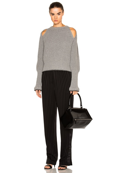 Cropped Shoulder Cut Out Sweater