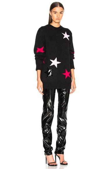 Star Print Crewneck Sweater
